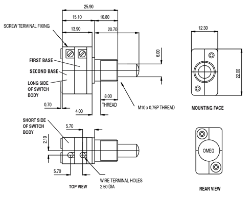 Double Pole push button switch Dimensions